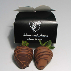 Chocolate Strawberries | 2-piece box - Two fresh extra large strawberries are dipped in pure milk, dark or white chocolate and decorated in contrasting drizzle.   Packaged in a two-piece box and personalized with your choice of message on a minimum order of fifty boxes.