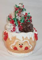 Ginger Bread Ceramic Bowl - This cute ginger bread ceramic bowl is filled with over ½ pound of yogurt covered pretzels, ¾ pound of snowy praline peanuts, and ¾ pound of chocolate covered almonds decorated with festive colored ribbons.