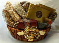 Ultimate Signature Basket - This traditional honey colored wall basket is overflowing with gourmet confections.